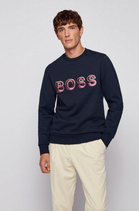 Logo sweatshirt in mercerized organic cotton, Dark Blue