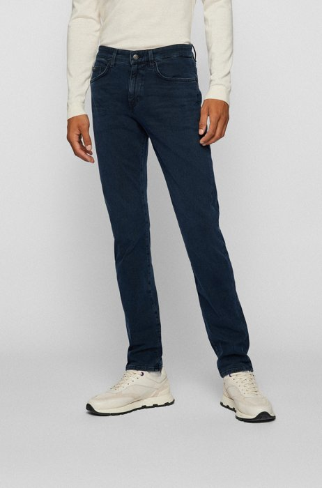 Slim-fit jeans in coal-navy cashmere-touch denim, Blue