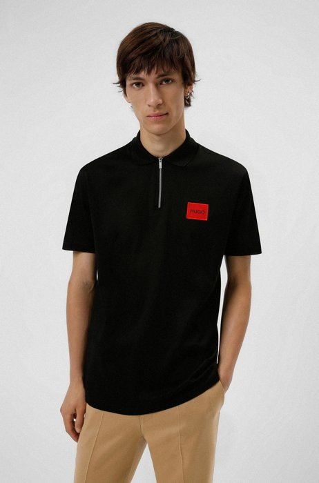 Zip-neck cotton polo shirt with red logo label, Black