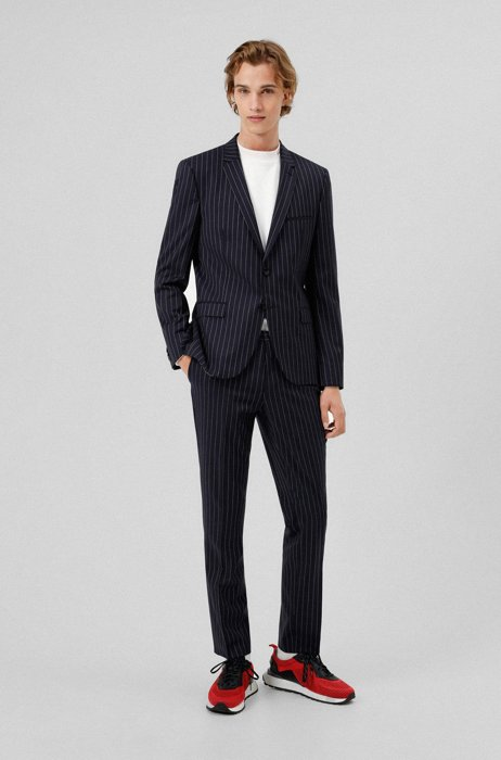 Extra-slim-fit suit in striped Italian stretch wool, Patterned