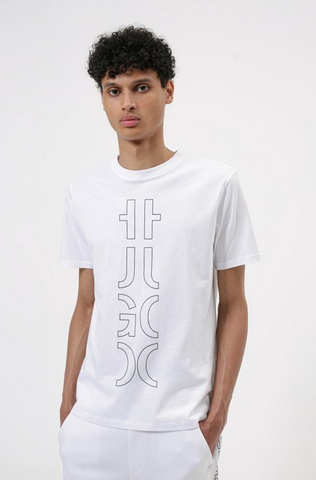Organic-cotton T-shirt with cropped logo, White