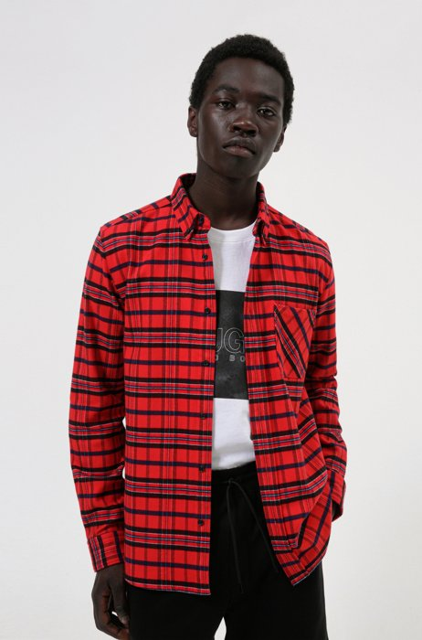 Relaxed-fit shirt in checked cotton flannel, light pink