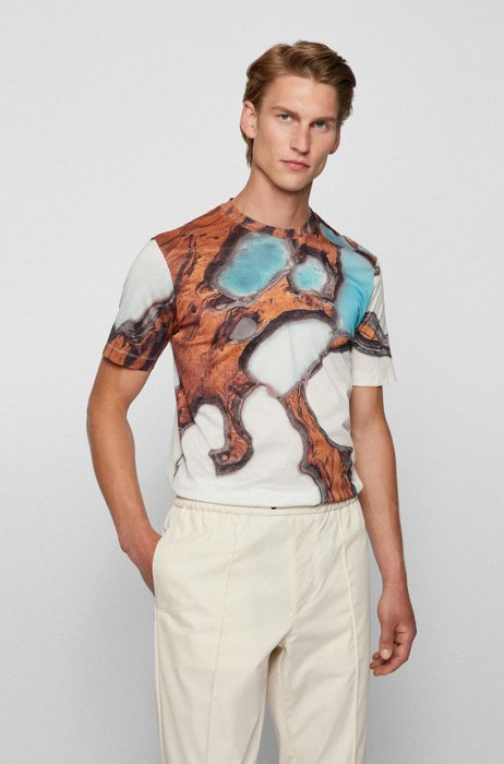 Crew-neck T-shirt in mercerized cotton with digital print, White