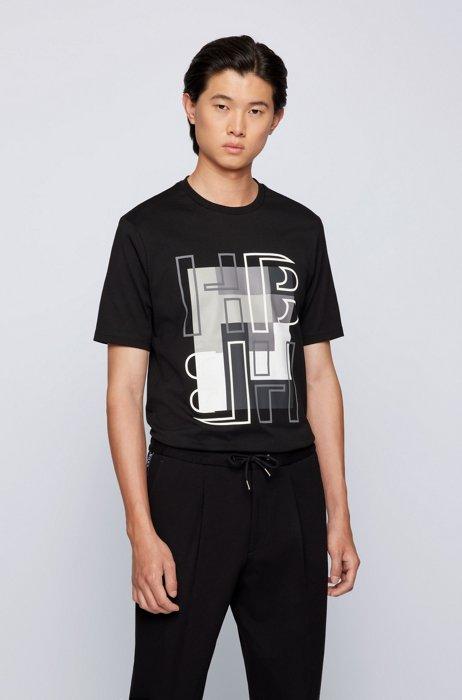 Cotton-jersey regular-fit T-shirt with monogram artwork, Black