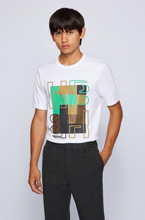 Cotton-jersey regular-fit T-shirt with monogram artwork, White