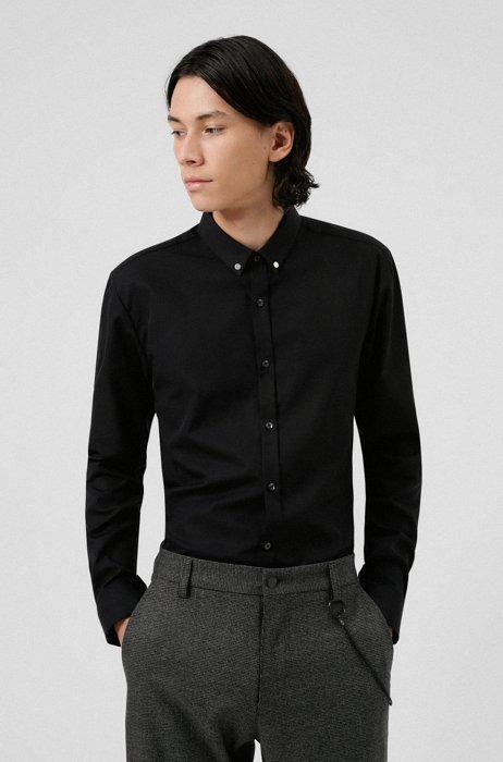 Extra-slim-fit shirt in cotton poplin, Black