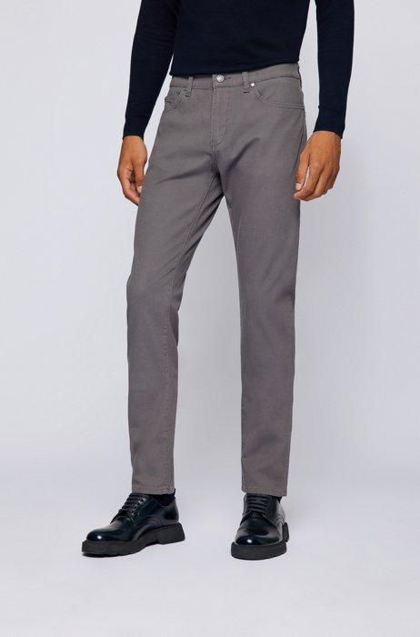 Slim-fit jeans in structured denim with leather logo , Dark Grey