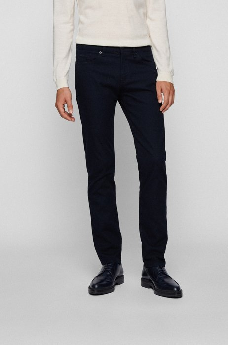 Slim-fit jeans in structured denim with leather logo , Dark Blue