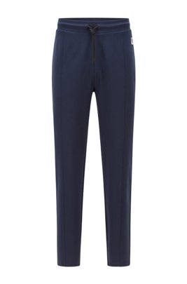 Tracksuit bottoms in stretch jersey with uncuffed hems, Dark Blue