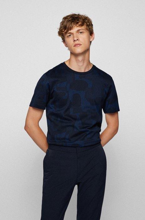 Slim-fit T-shirt in mercerized cotton with shadow pattern, Dark Blue