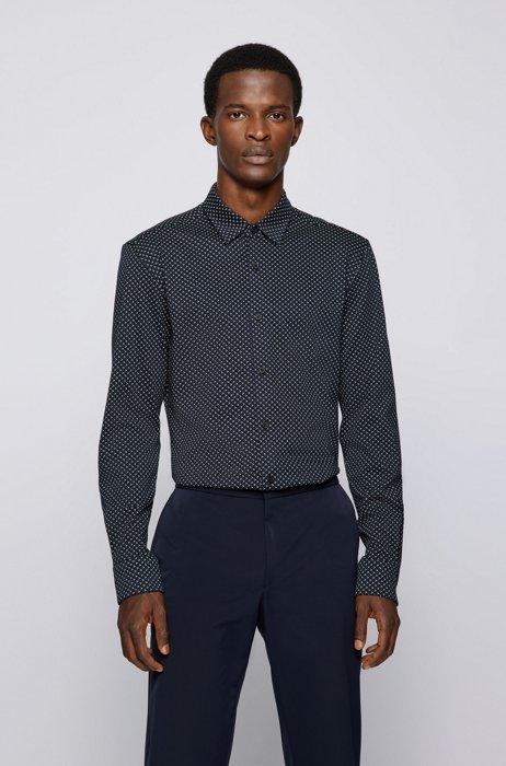 Slim-fit shirt in a performance-stretch cotton blend, Dark Blue