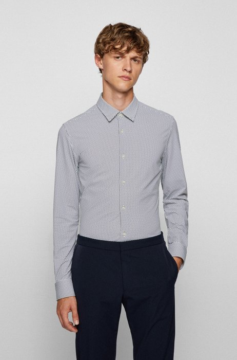Slim-fit patterned shirt in recycled stretch fabric, Green