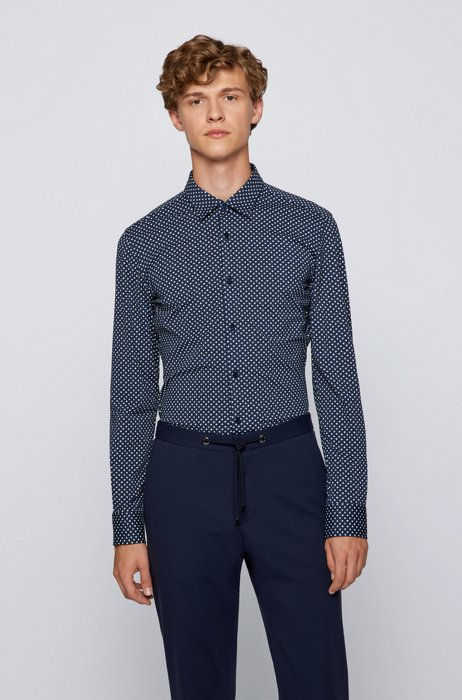 Slim-fit patterned shirt in recycled stretch fabric, Dark Blue