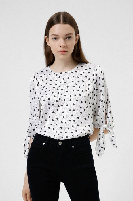 Dot-print top with tie-up sleeves, Patterned