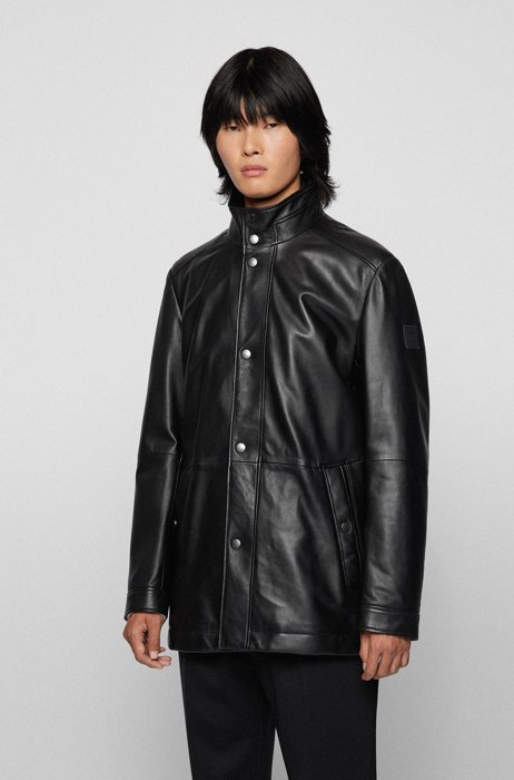 Regular-fit leather overcoat with removable inner bib, Black