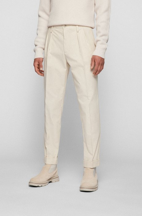 Tapered-fit trousers in organic cotton with pleat front, White