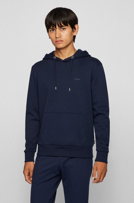 Relaxed-fit hooded sweatshirt in organic-cotton terry, Dark Blue