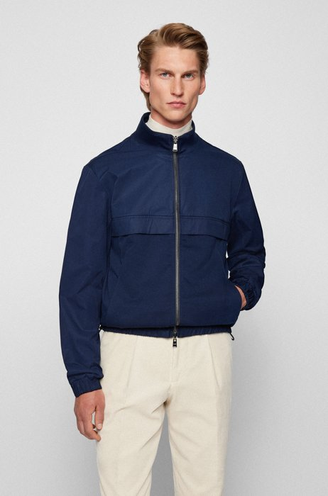 Reversible zip-up sweatshirt in an organic-cotton blend, Dark Blue