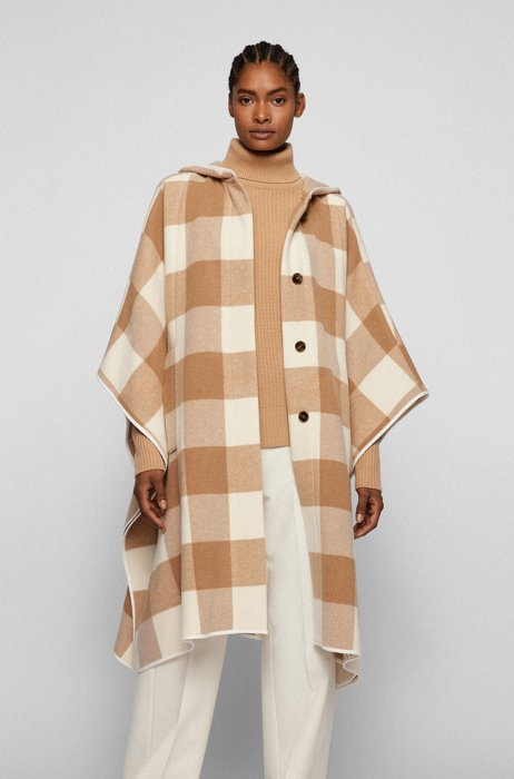 Oversized-fit coat in a checked wool blend, Patterned