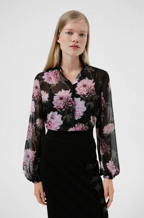 Dahlia-print regular-fit blouse in recycled material, Patterned