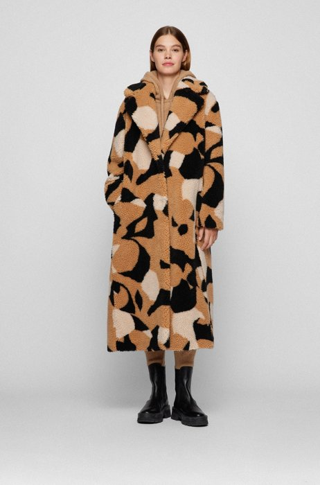 Collection-pattern teddy coat in a relaxed fit, Patterned