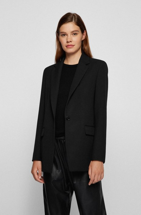 Regular-fit single-button jacket with logo lining, Black