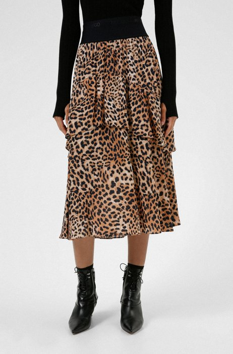 Leopard-print A-line skirt with logo waistband, Patterned