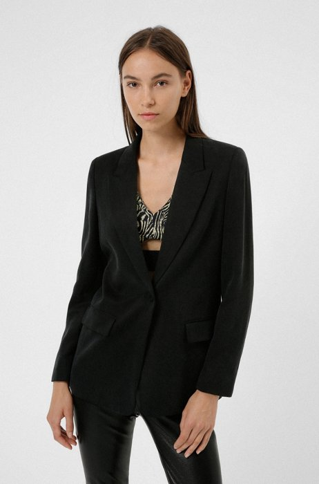 Relaxed-fit jacket in TENCEL™ Lyocell with logo detail, Black