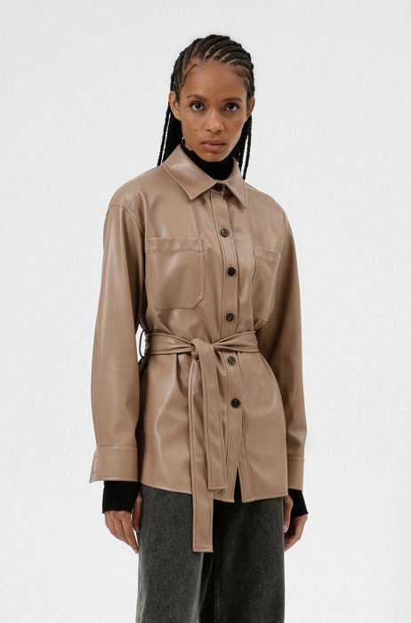 Relaxed-fit shirt jacket in faux leather, Light Beige