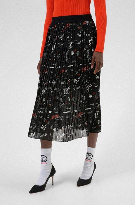 Plissé midi skirt with scribble print, Patterned