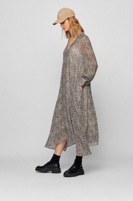 Relaxed-fit midi dress with graphic print, Patterned