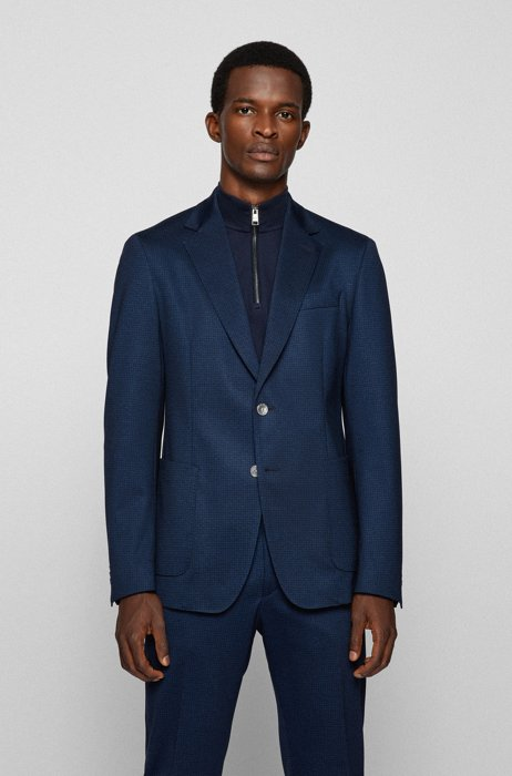 Slim-fit jacket in micro-patterned stretch jersey, Dark Blue