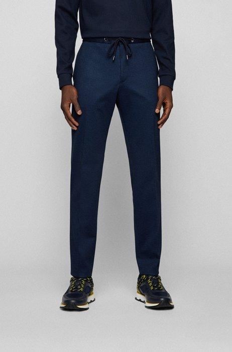 Slim-fit pants in patterned stretch jersey, Dark Blue