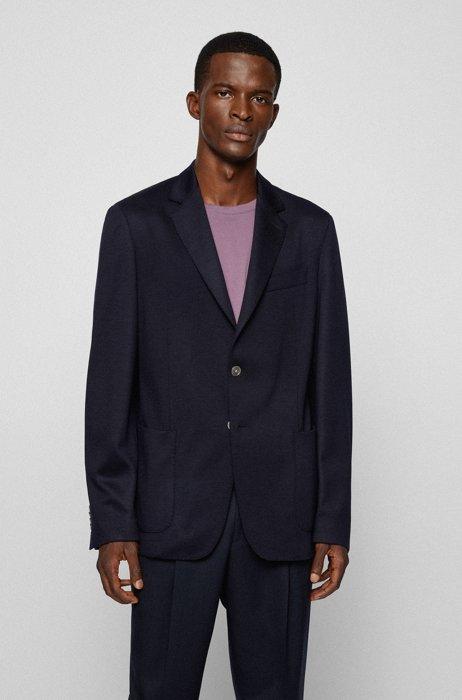 Slim-fit jacket in responsible virgin wool, Dark Blue
