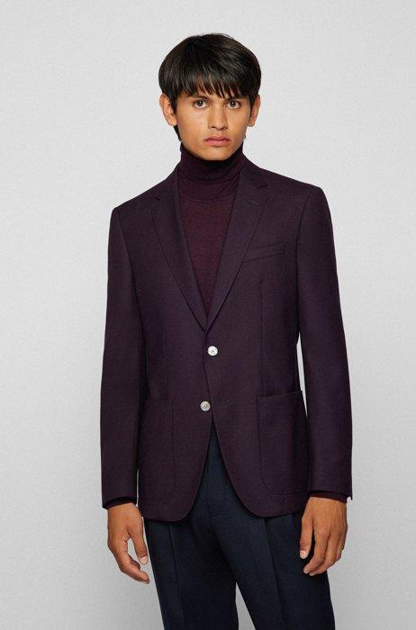 Slim-fit jacket in responsible virgin wool, Purple