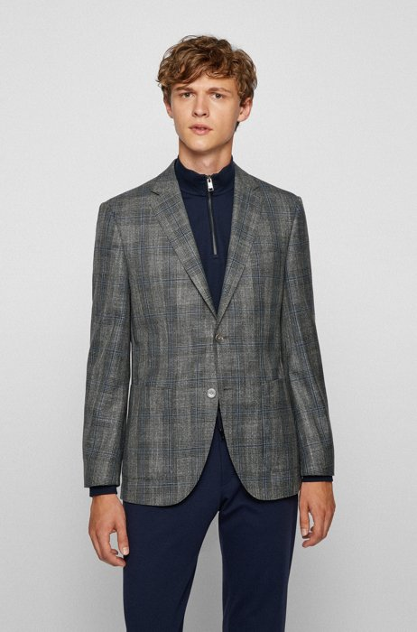 Regular-fit jacket in a checked wool blend, Grey