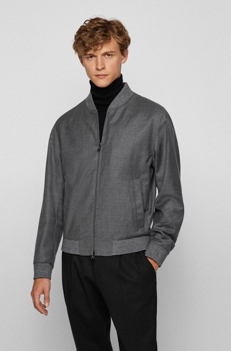 Zip-up slim-fit jacket in stretch wool flannel, Grey
