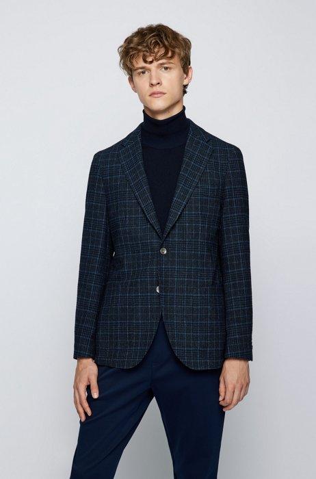 Regular-fit jacket in a checked wool blend, Dark Blue