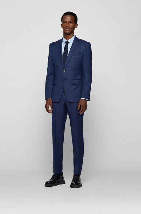 Costume Slim Fit en sergé de laine vierge à carreaux, Bleu foncé