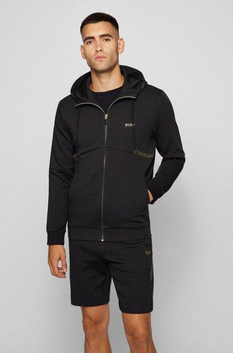 Regular-fit sweatshirt with pixel print and logo, Black