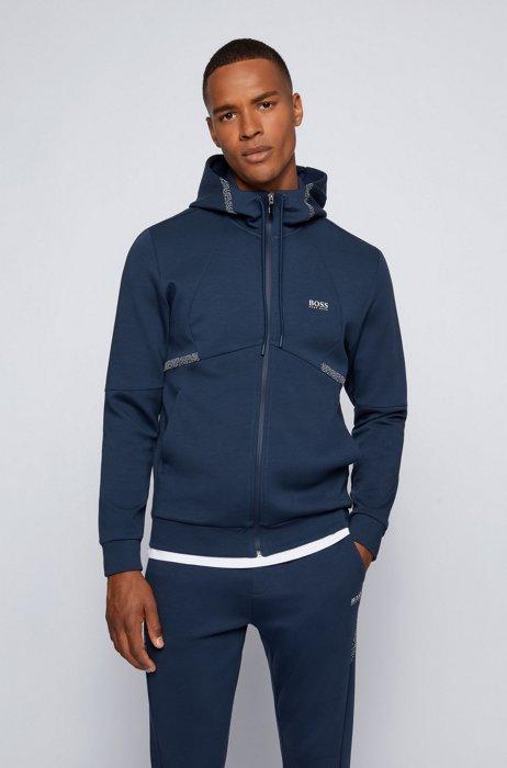 Regular-fit sweatshirt with pixel print and logo, Dark Blue