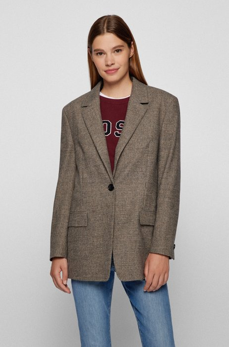 Relaxed-fit single-button jacket in houndstooth cloth, Patterned
