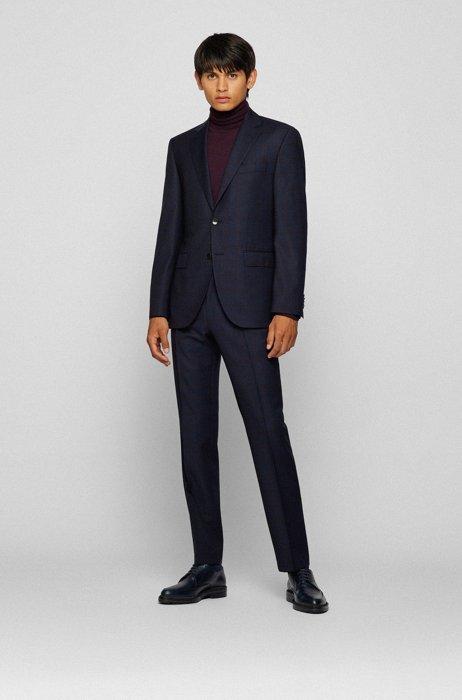 Regular-fit suit in checked virgin-wool serge, Purple
