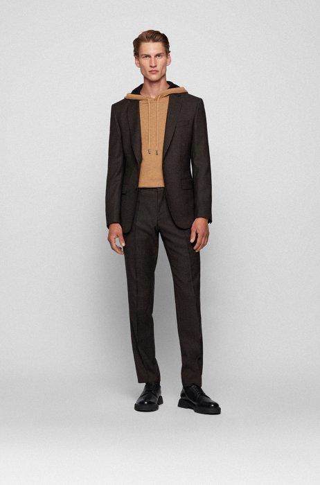 Slim-fit suit in patterned virgin-wool serge, Beige