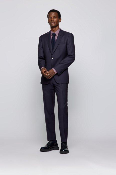 Slim-fit suit in patterned virgin-wool serge, Purple