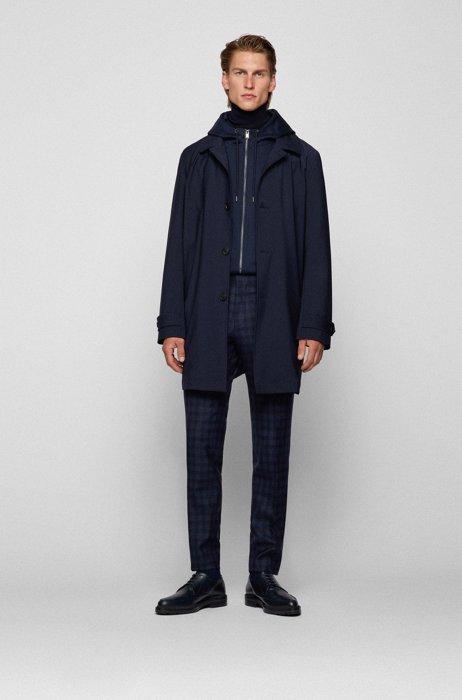 Extra-slim-fit suit in checked virgin-wool serge, Dark Blue