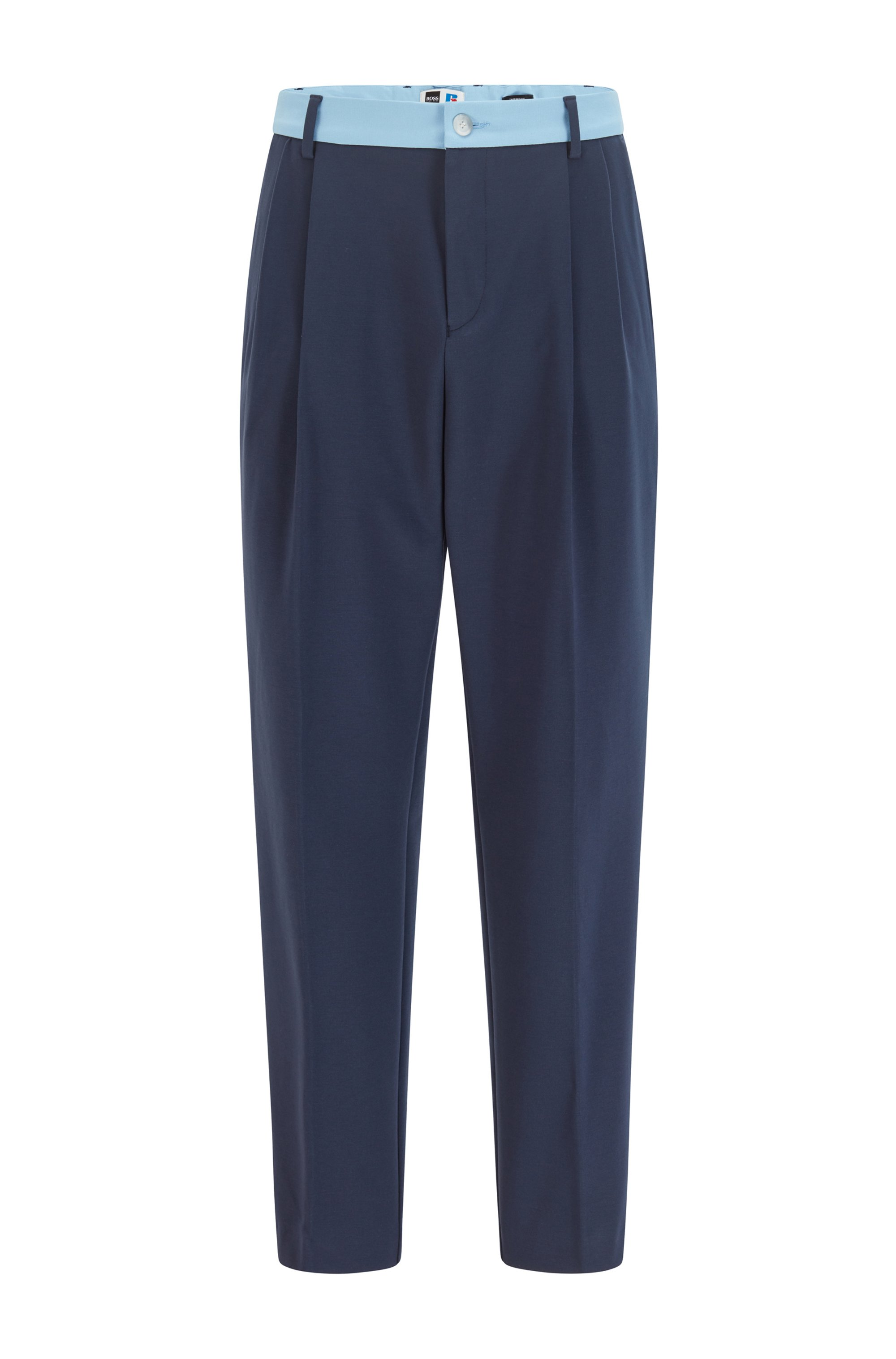 Tapered-fit pants with contrast trim and exclusive logo, Dark Blue