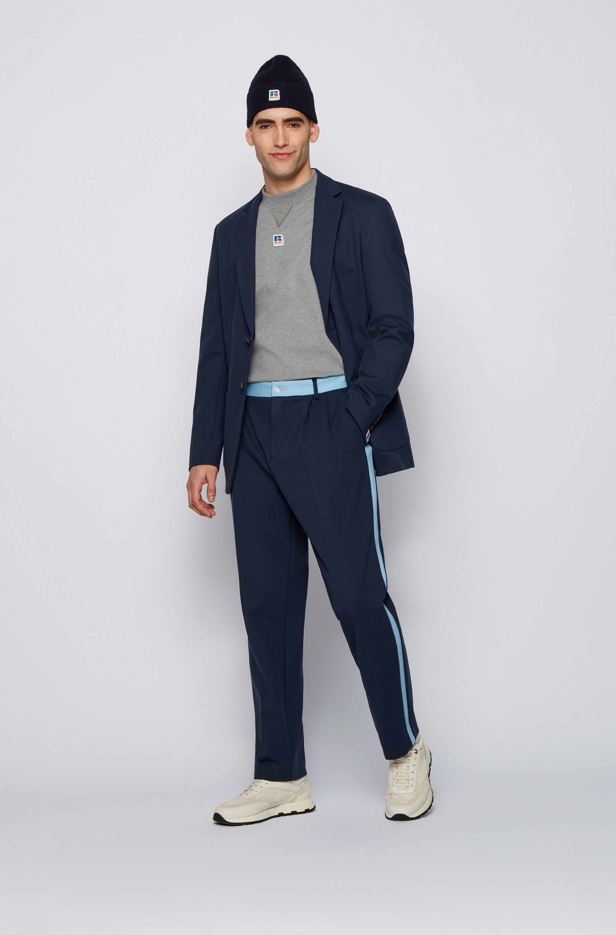 Tapered-fit pants with contrast trim and exclusive logo