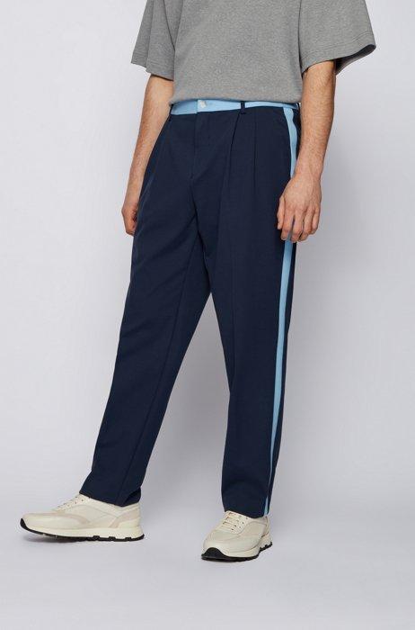Pantalon Tapered Fit avec finition contrastante et logo exclusif, Bleu foncé