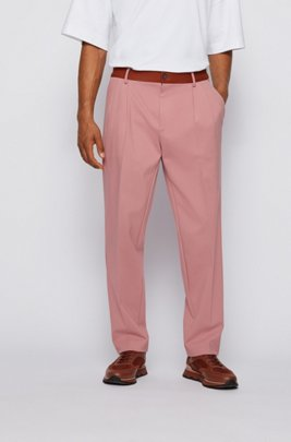 Tapered-fit pants with contrast trim and exclusive logo, light pink
